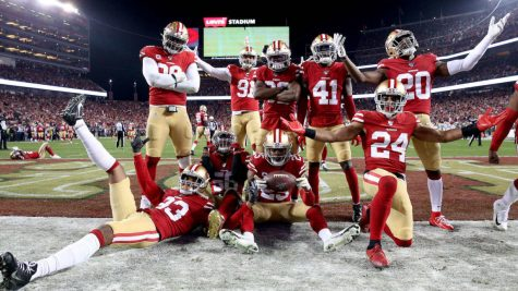 Jan 19, 2020; Santa Clara, California, USA;  San Francisco 49ers players celebrate an interception by cornerback Richard Sherman against the Green Bay Packers in the fourth quarter the NFC Championship Game at Levi